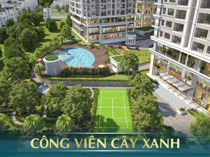 Khuôn viên xanh tại E2 Yên Hòa
