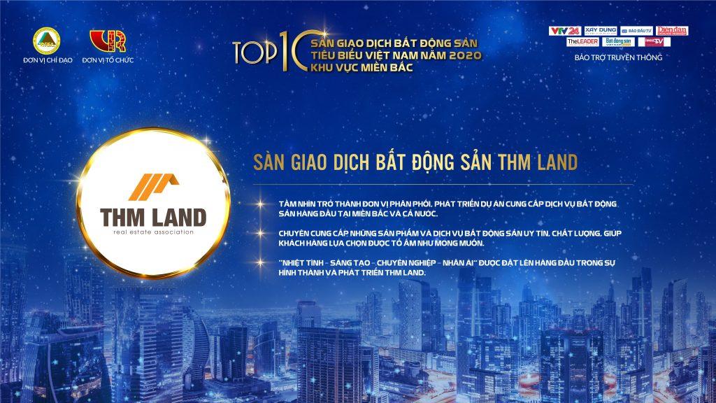 """THM Land đạt danh hiệu """"Sàn giao dịch bất động sản tiêu biểu Việt Nam năm 2020"""""""