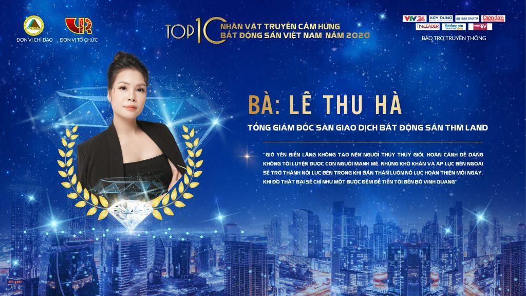 """Tổng Giám đốc THM Land – Bà Lê Thu Hà lọt """"TOP 10 Nhân vật truyền cảm hứng bất động sản"""""""